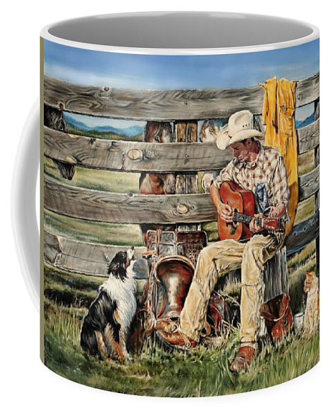 Horses Coffee Mug featuring the painting Strumm'in Hands by Rick Unger