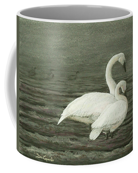 Swan Coffee Mug featuring the painting Submission by Dee Carpenter