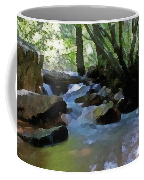 Summer Creek Coffee Mug featuring the digital art Summer Creek by Ernie Echols