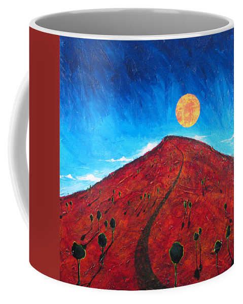 Landscape Coffee Mug featuring the painting Sun Over Red Hill by Rollin Kocsis
