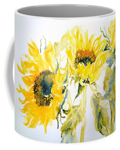 Sunflowers Coffee Mug featuring the painting Sun Sisters by Ruth Harris