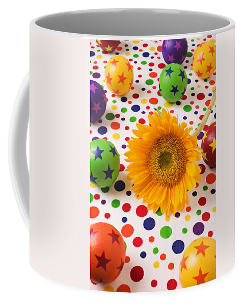Sunflower Coffee Mug featuring the photograph Sunflower And Colorful Balls by Garry Gay