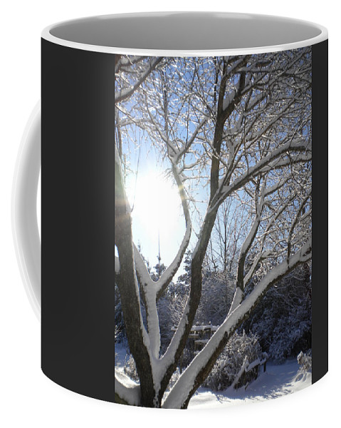 Winter Coffee Mug featuring the painting Sunny Snow Day 1 by Renate Nadi Wesley
