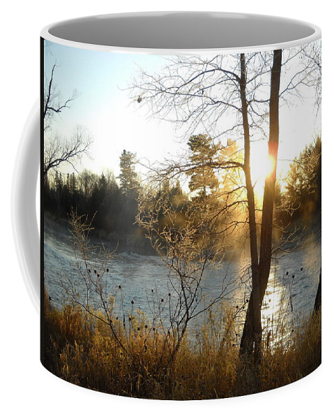 Mississippi River Coffee Mug featuring the photograph Sunrise Across The Mississippi by Kent Lorentzen