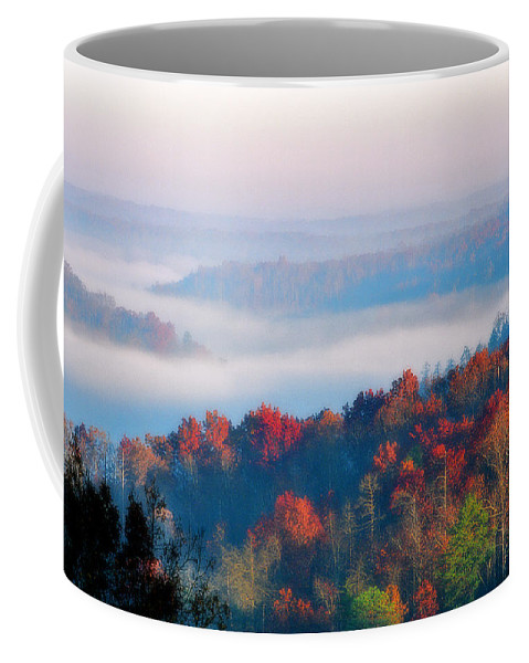 Fog Coffee Mug featuring the photograph Sunrise And Fog In The Cumberland River Valley by Greg Matchick