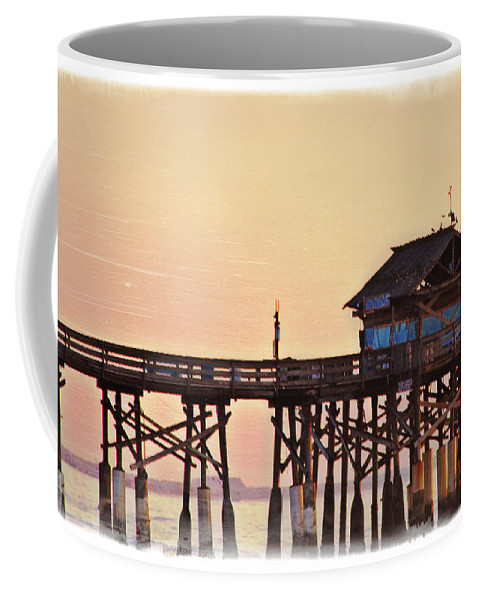 Sunrise Coffee Mug featuring the photograph Sunrise On Rickety Pier by Janie Johnson