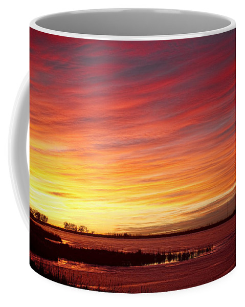 Sunrise Coffee Mug featuring the photograph Sunrise Over Union Reservoir In Longmont Colorado Boulder County by James BO Insogna