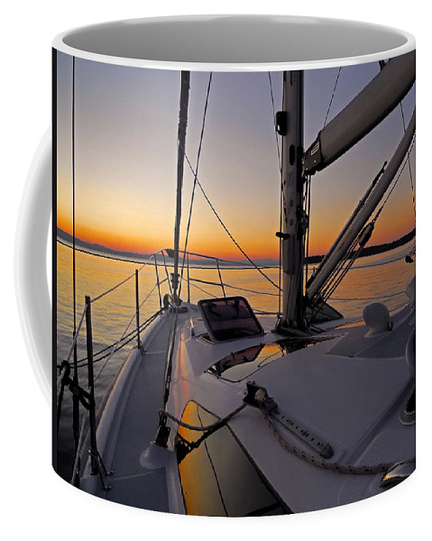 North America Coffee Mug featuring the photograph Sunset At Burlington Harbour ... by Juergen Weiss