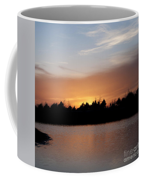 Square Coffee Mug featuring the photograph Sunset By The Lake by Art Whitton