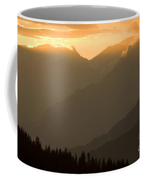 Alps Coffee Mug featuring the photograph Sunset In The Mountains by Angel Ciesniarska
