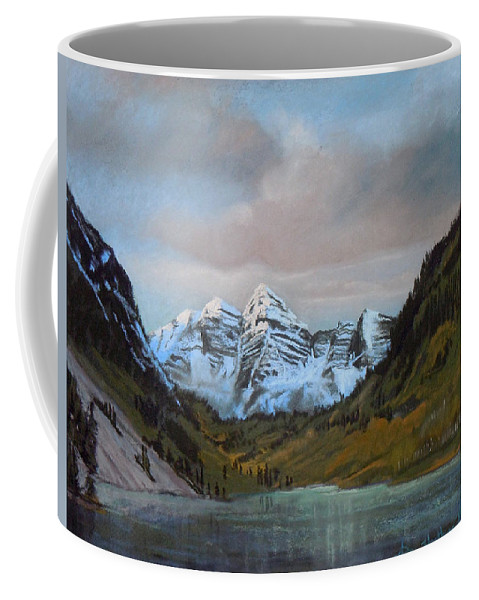 Sunset Marroon Belles Coffee Mug featuring the painting Sunset Maroon Belles by Heather Coen