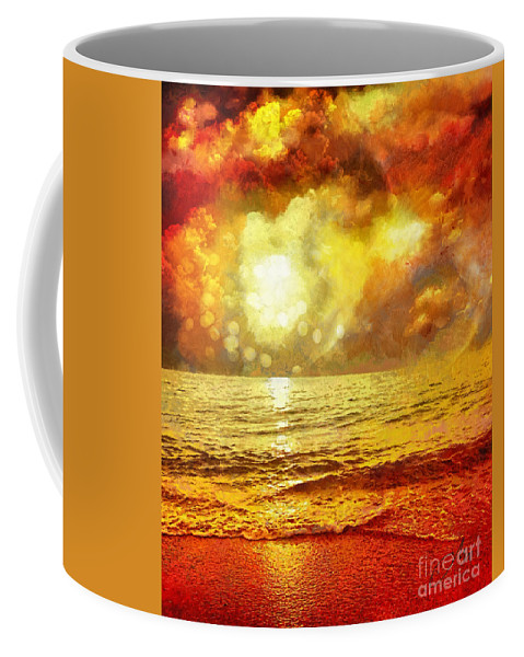 Sunset Coffee Mug featuring the painting Sunset by Mo T