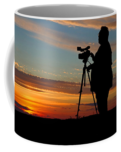 Sunset Coffee Mug featuring the photograph Sunset Videographer by David Freuthal