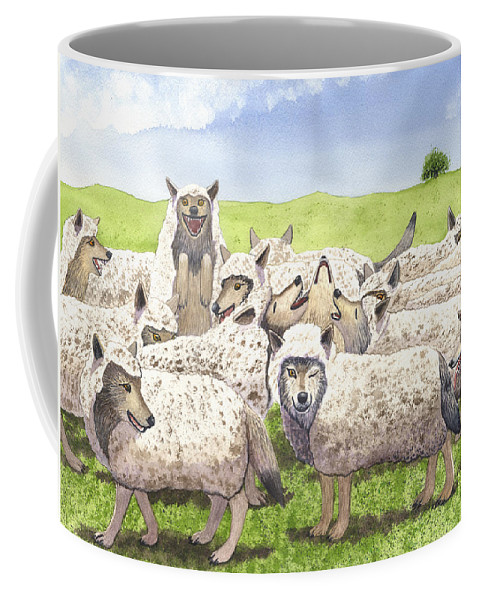 Wolf Coffee Mug featuring the painting Super Pac by Catherine G McElroy