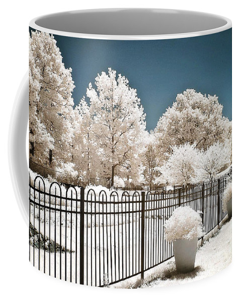 Infrared Nature Prints Coffee Mug featuring the photograph Surreal Michigan Infrared Nature - Dreamy Color Infrared Nature Fence Landscape Michigan Infrared by Kathy Fornal