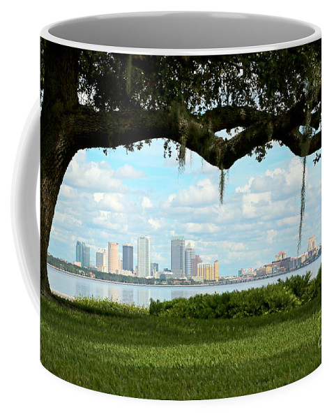 Oak Tree Coffee Mug featuring the photograph Tampa Skyline Through Old Oak by Carol Groenen