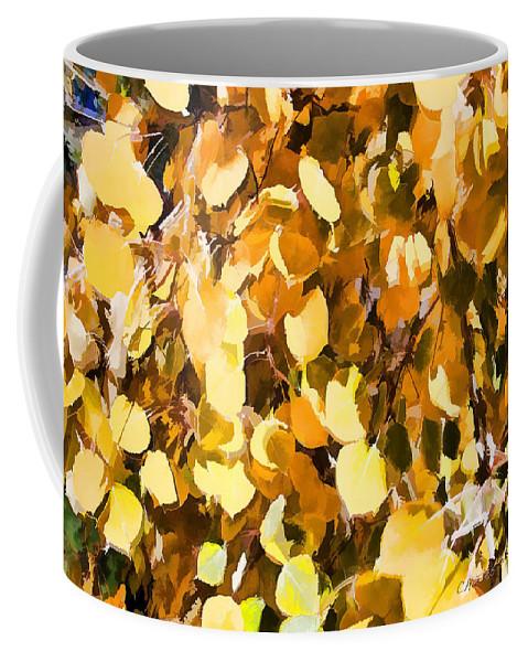 Aspen Coffee Mug featuring the digital art Taos Gold Iv by Charles Muhle