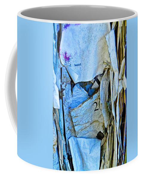 Art Coffee Mug featuring the photograph Tattered Paper On A Bulletin Board No.1045 by Randall Nyhof