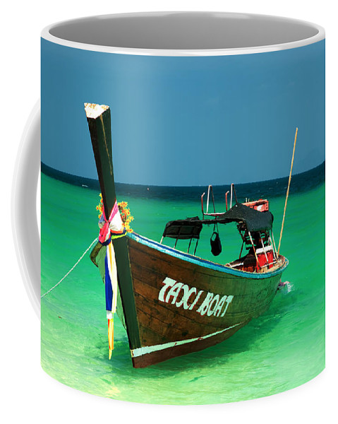 Asia Coffee Mug featuring the photograph Taxi Boat by Adrian Evans