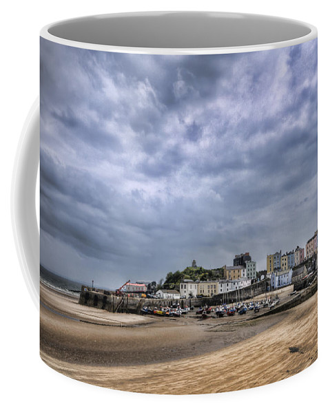 Tenby Pembrokeshire Coffee Mug featuring the photograph Tenby Harbour Low Tide by Steve Purnell