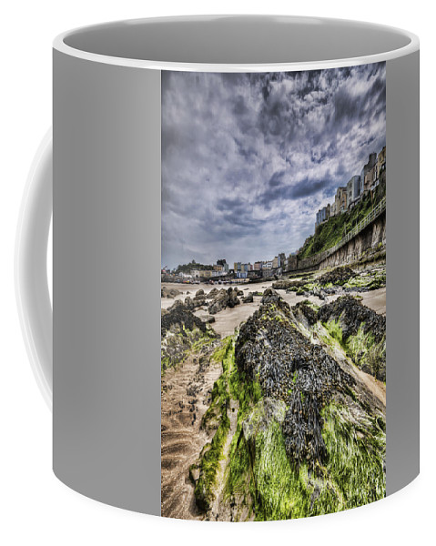 Tenby Pembrokeshire Coffee Mug featuring the photograph Tenby Rocks 4 by Steve Purnell