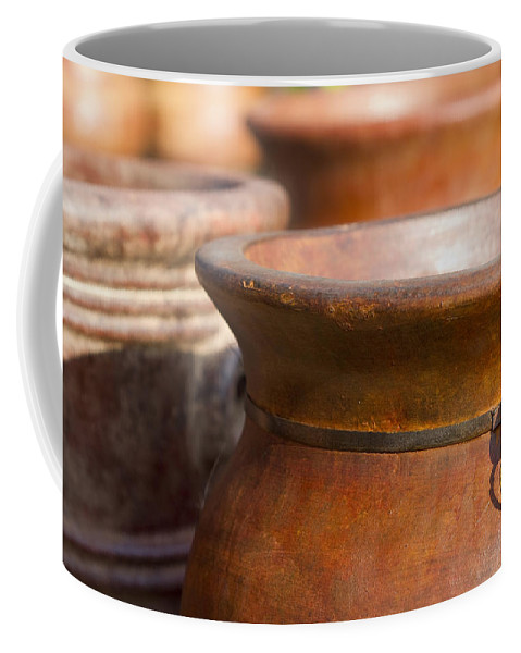 Terracotta Coffee Mug featuring the photograph Terracotta Mexican Pottery by Kathy Clark