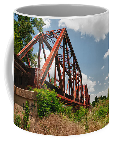 Bridges Coffee Mug featuring the photograph Texas Train Trestle 13984c by Guy Whiteley