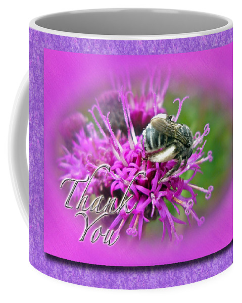 Thank You Coffee Mug featuring the photograph Thank You Greeting Card - Bumblebee On Ironweed by Mother Nature