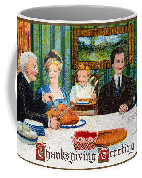 1910 Coffee Mug featuring the photograph Thanksgiving Card, 1910 by Granger