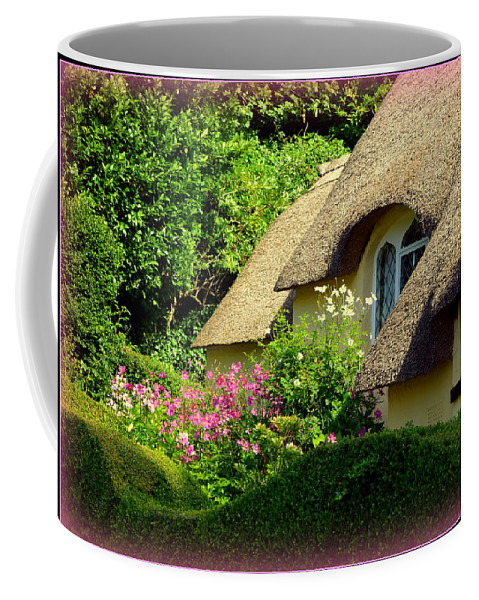 Selworthy Coffee Mug featuring the photograph Thatched Cottage With Pink Flowers by Carla Parris