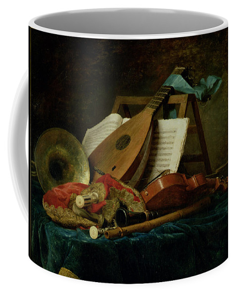 The Attributes Of Music Coffee Mug featuring the painting The Attributes Of Music by Anne Vallaer-Coster