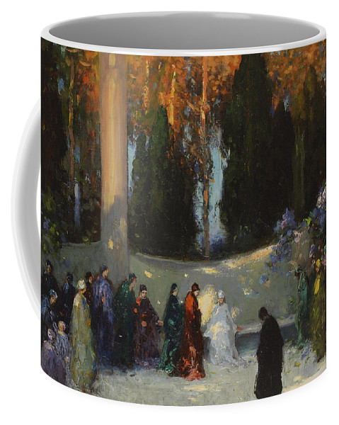 Group; Park; Garden; Waiting; Female Figures; Clearing; Woods; Ceremony; Wooded; Female Cult; Reverence; Homage; Woods Coffee Mug featuring the painting The Audience by TE Mostyn