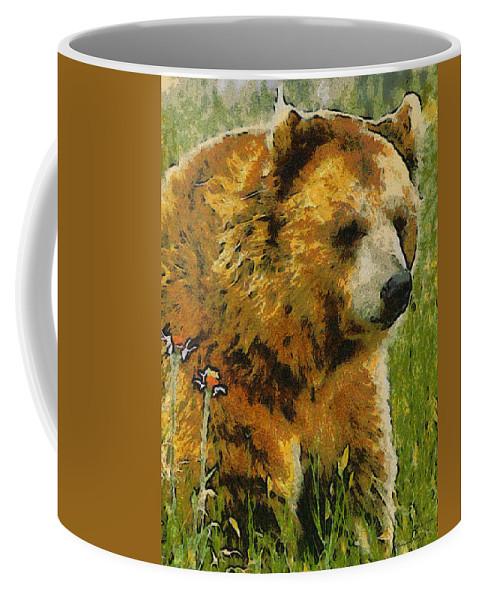Bear Coffee Mug featuring the digital art The Bear Painterly by Ernie Echols