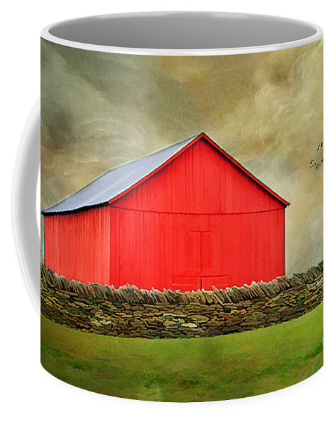 Agriculture Coffee Mug featuring the photograph The Big Red Barn by Darren Fisher