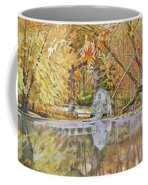 Boathouse Coffee Mug featuring the painting The Boathouse by Andy Lloyd