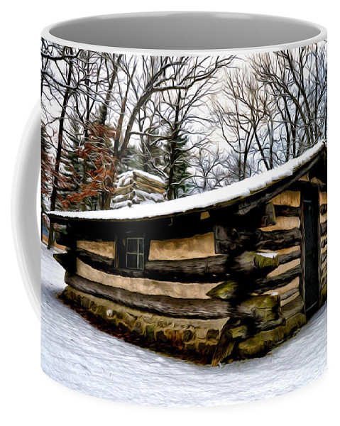 The Cabin In The Woods Coffee Mug featuring the photograph The Cabin In The Woods by Bill Cannon