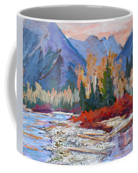 Coffee Mug featuring the painting The Canadian Rockies by Mohamed Hirji