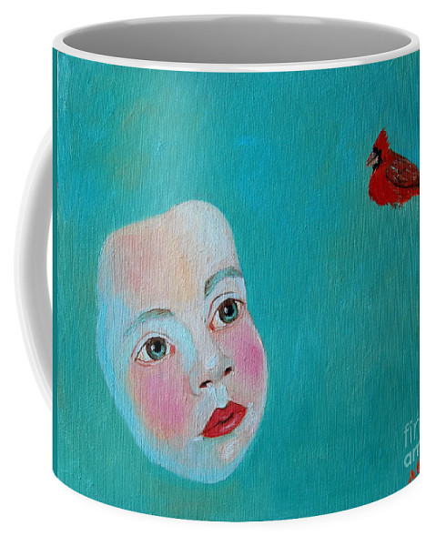Cardinal Coffee Mug featuring the painting The Cardinal's Song by Ana Maria Edulescu