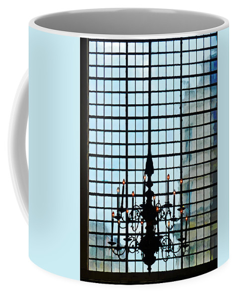 Chandelier Coffee Mug featuring the photograph The Cathedral Chandelier by Steve Taylor