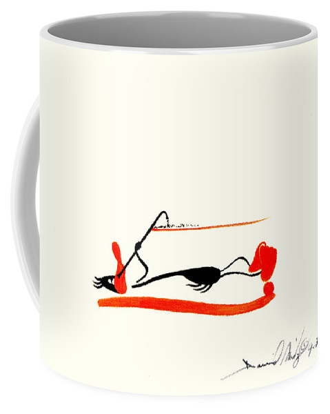 Comic Satire Duck Orange Black Snortting Sniffing Drugs Drug Abuse Horizontal Coffee Mug featuring the painting The Duck by David Mintz