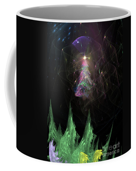 Abstract Coffee Mug featuring the digital art The Egregious Christmas Tree 3 by Russell Kightley