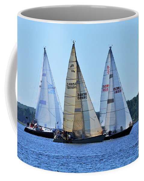 Sail Boats Coffee Mug featuring the photograph The Finish Line by Ronald Grogan