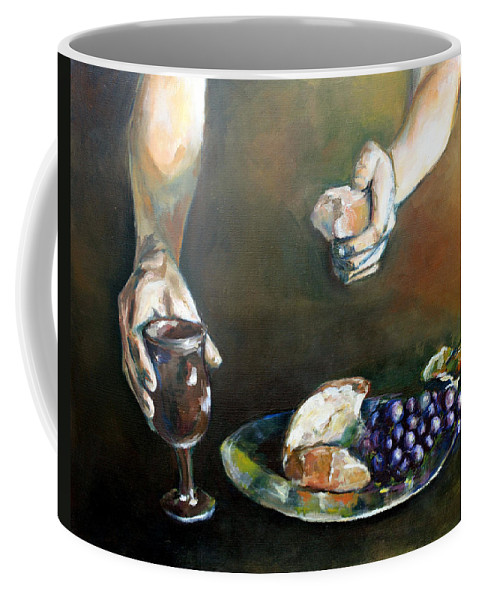 Communion Coffee Mug featuring the painting The Gift by Kathryn M Bennett
