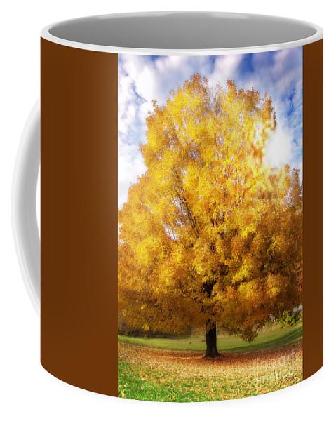 Fall Coffee Mug featuring the digital art The Golden Tree by Lj Lambert