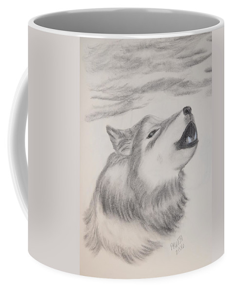 Wolf Coffee Mug featuring the drawing The Howler by Maria Urso