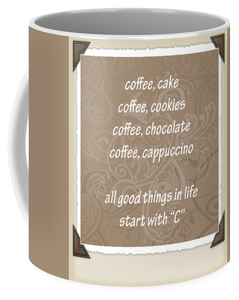 Coffee Coffee Mug featuring the digital art The Letter C Scrapbook by Angelina Vick