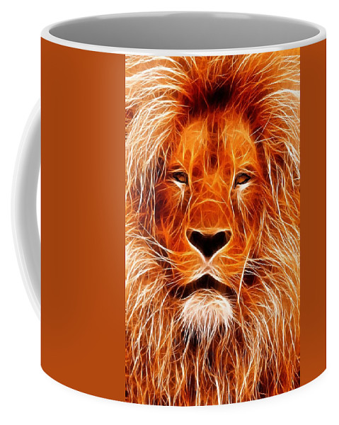 Lion Painting Acrylic Canvas Expressionism Impressionism Animal Jungle Africa Coffee Mug featuring the painting The Lions King by Steve K