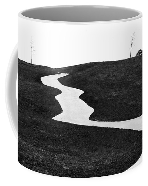 Road Coffee Mug featuring the photograph The Long And Winding Road Bw by Mike Nellums