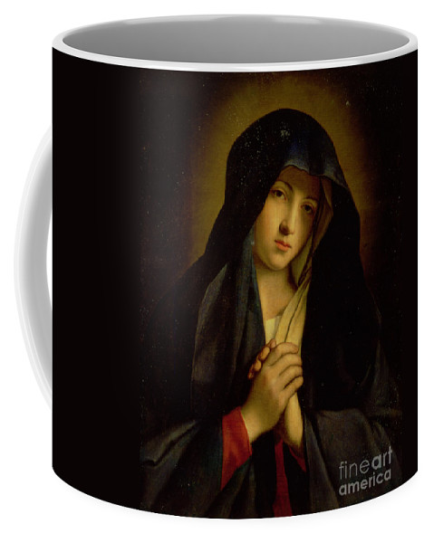 The Madonna In Sorrow (oil On Canvas) By Il Sassoferrato Coffee Mug featuring the painting The Madonna In Sorrow by Il Sassoferrato