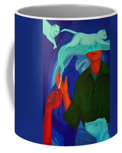 Surreal Coffee Mug featuring the painting The Nicotine. by Andrzej Pietal